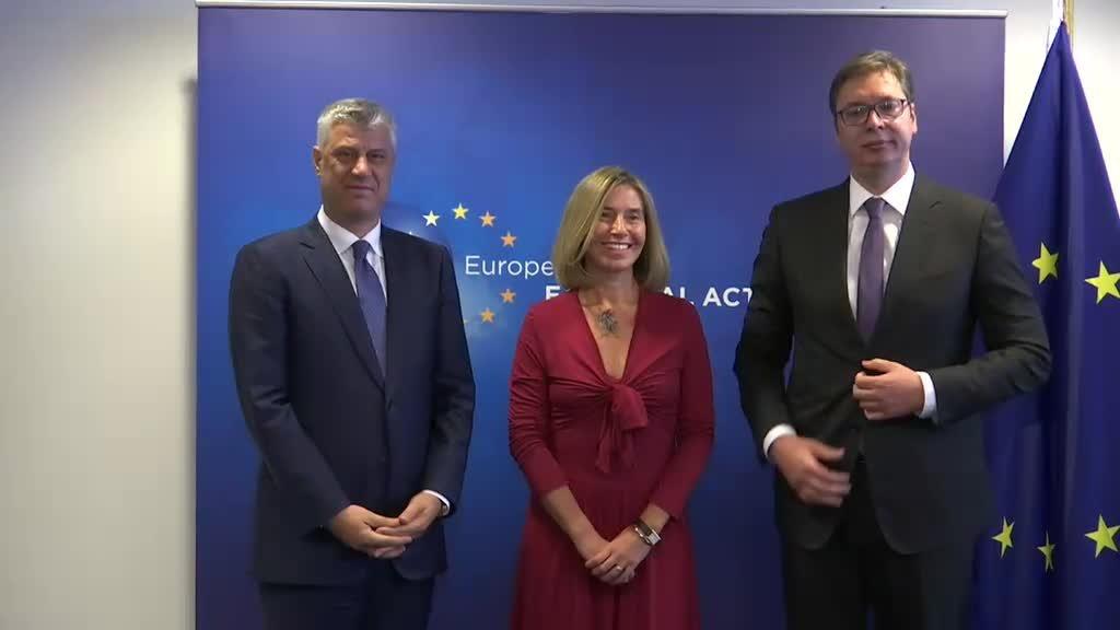 Thaçi ve Vuçiç'i Mogherini Brüksel'de Buluşturdu